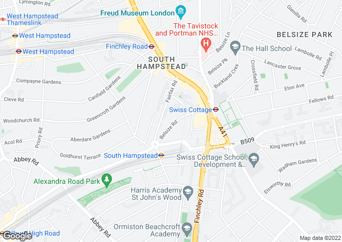 Map for Belsize Road, South Hampstead, NW6