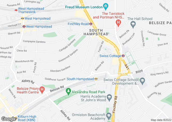 Map for Goldhurst Terrace, South Hampstead, NW6