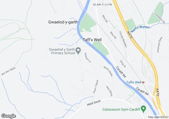 Map for School Lane, Gwaelod-y-Garth