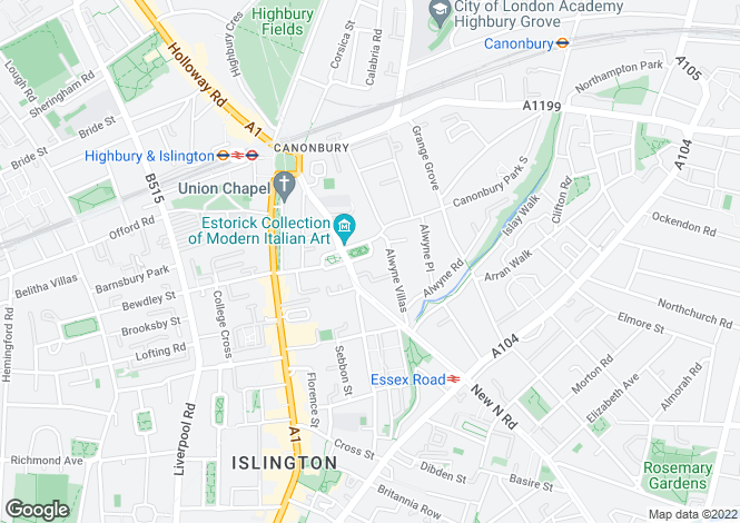 Map for Canonbury Square, London, N1
