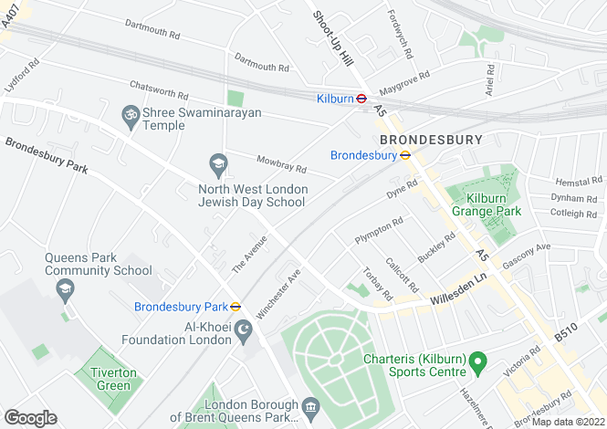 Map for Cavendish Road, Brondesbury, NW6 7XP