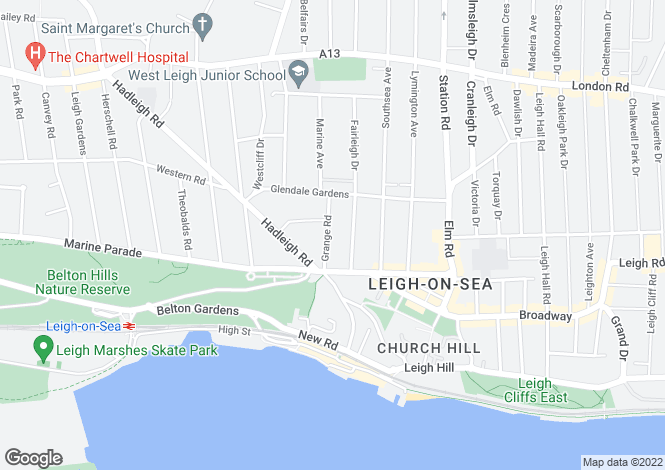 Map for Grange Road, Leigh-on-sea, Essex