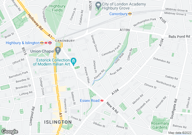 Map for Alwyne Place, Islington, London N1 2NL