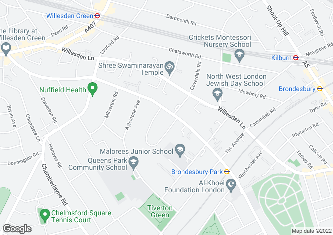 Map for Brondesbury Park, Brondesbury Park, NW6