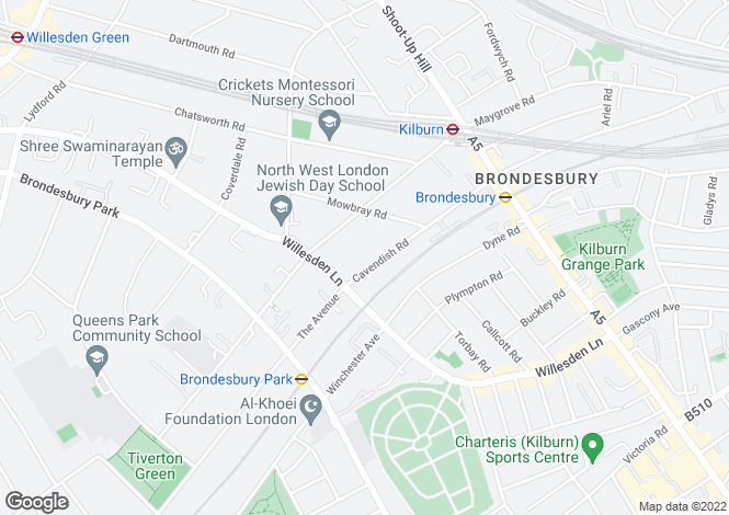 Map for Cavendish Road, Brondesbury, NW6