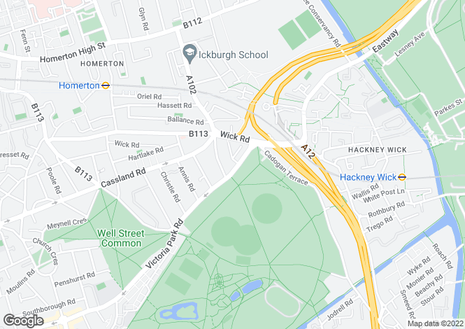 Map for Victoria Park Road, Hackney, London, E9