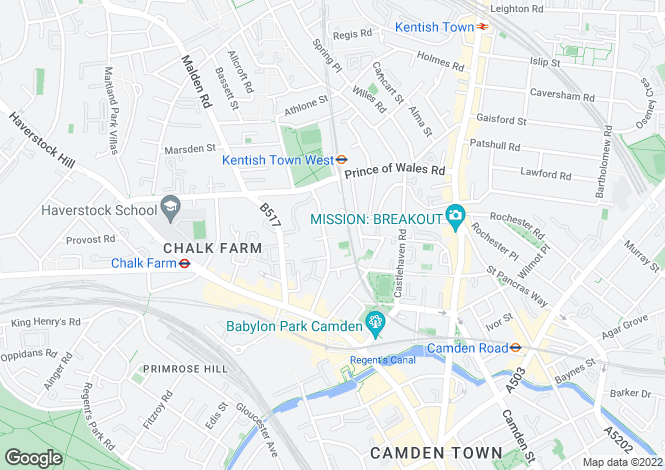 Map for Powlett Place Chalk Farm