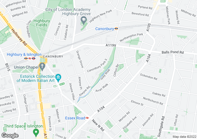 Map for Canonbury Park South, Canonbury, N1