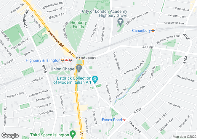 Map for Compton Road, Canonbury, N1