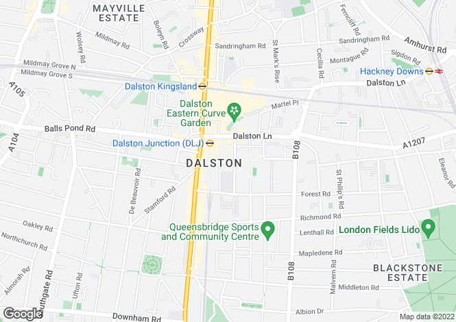 Map for Raddon Tower, Dalston Square, London E8