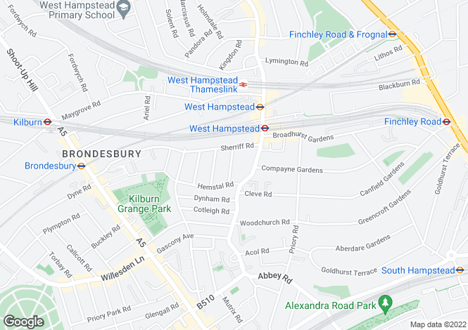 Map for Hilltop Road, West Hampstead, NW6