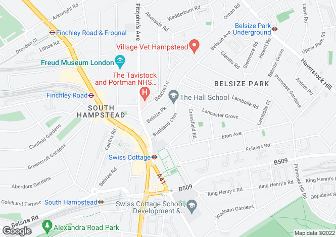 Map for Buckland Crescent, Belsize Park