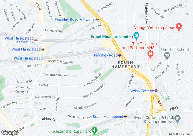Map for Compayne Gardens, South Hampstead, NW6