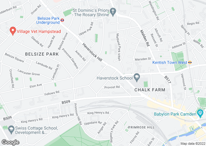 Map for Steeles Road, Belsize Park, NW3