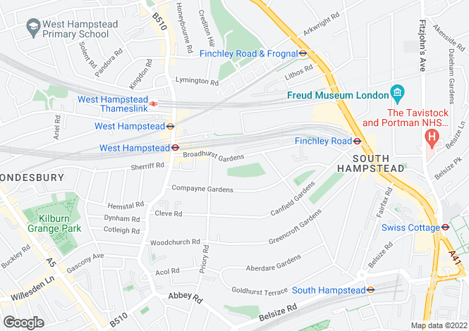 Map for Broadhurst Gardens, West Hampstead, London, NW6