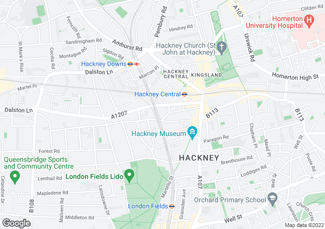 Map for Penpol Road, Hackney, London, E8