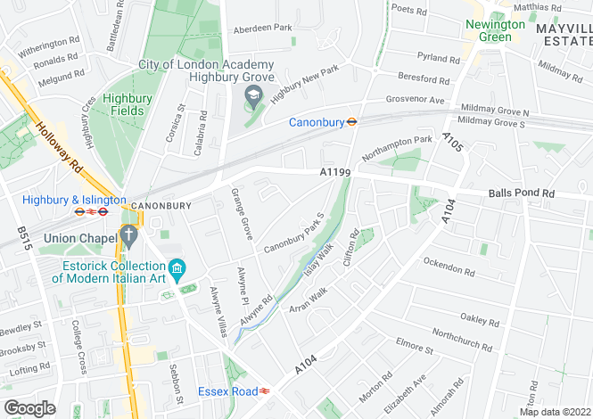 Map for Canonbury Park North, London, London