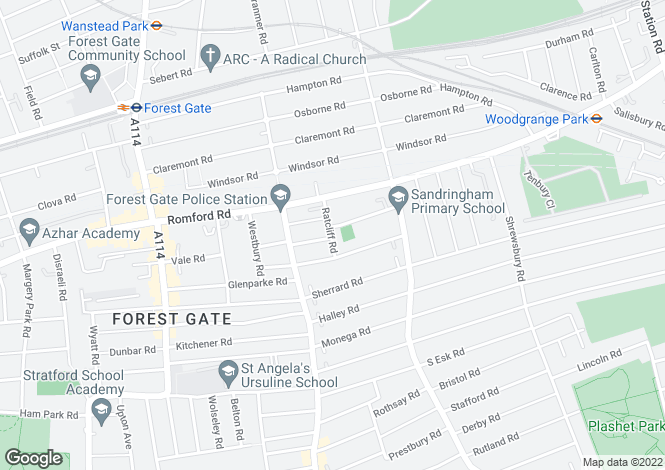 Map for Ratcliff Road, Forest Gate, E7