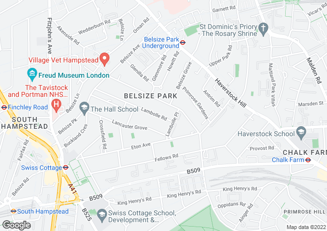 Map for Lambolle Road, Belsize Park