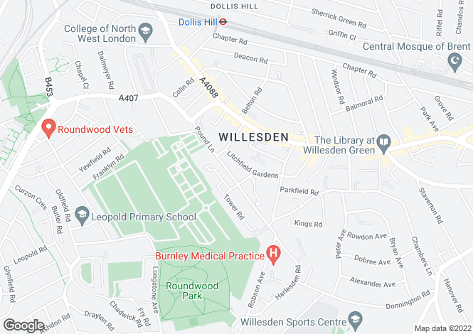 Map for Litchfield Gardens, Willesden, London, NW10