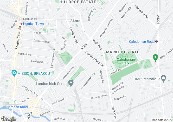 Map for North Villas, Camden, London  NW1 9BL
