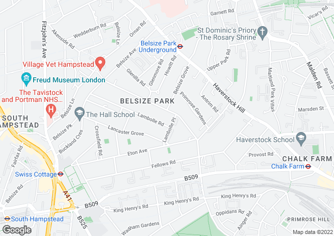 Map for Belsize Park Gardens, Camden, NW3