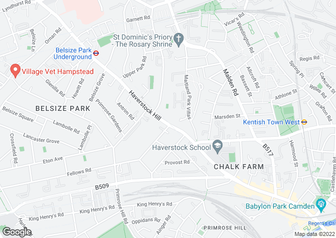 Map for Haverstock Hill, Belsize Park, NW3