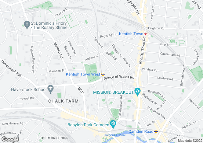 Map for Perren Street, Kentish Town, NW5