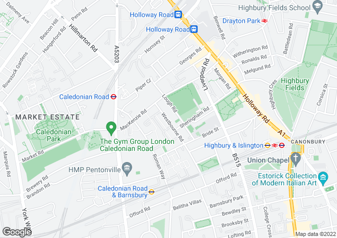 Map for Westbourne Road Islington N7