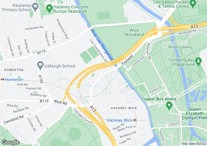 Map for Eastway, Hackney Wick. E9
