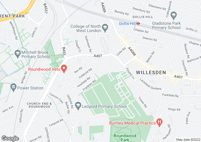 Map for Cobbold Road, Willesden, London, NW10