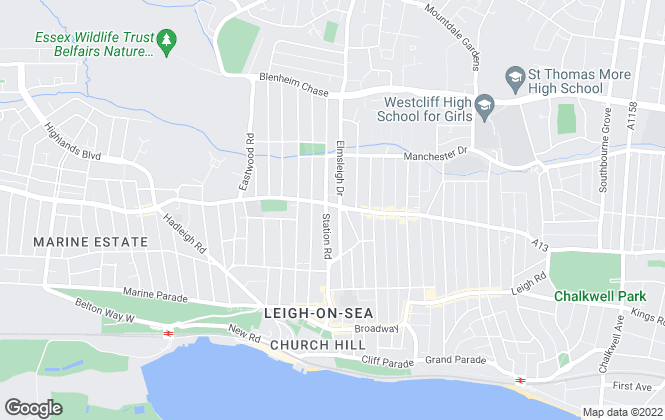 Map for Reliance Estates, Leigh-On-Sea
