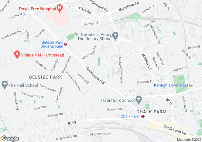 Map for Parkhill Road, Belsize Park, London, NW3
