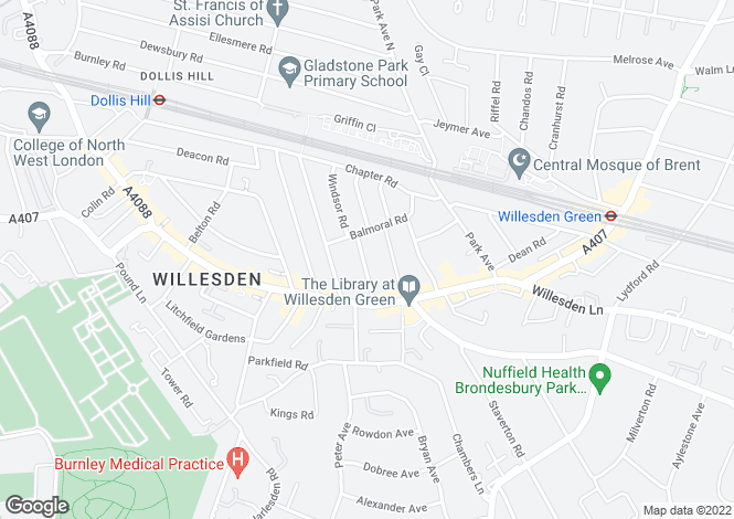 Map for Huddlestone Road, Willesden, NW2