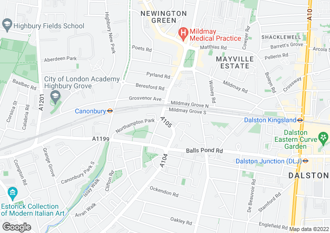 Map for Newington Green Road, Islington, N1