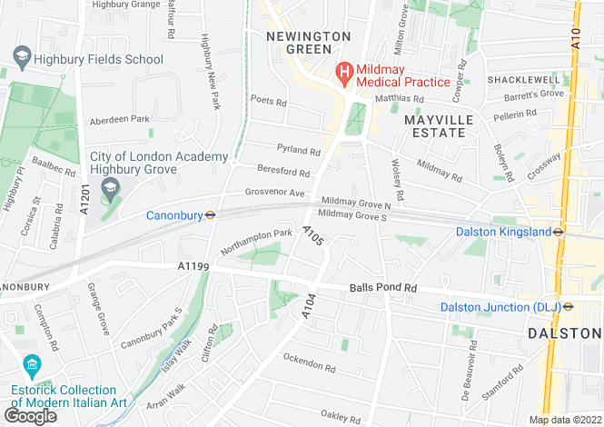 Map for Newington Green Road, Islington, London