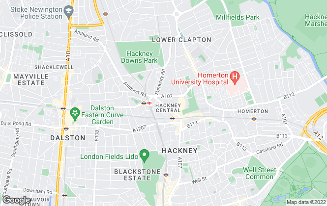 Map for Homefinders, Hackney