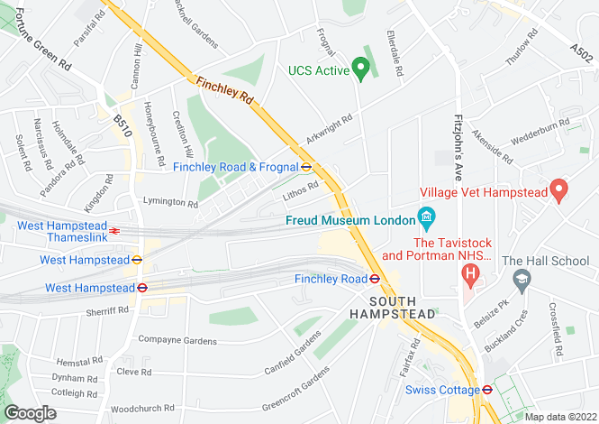 Map for Rosemont Road, South Hampstead