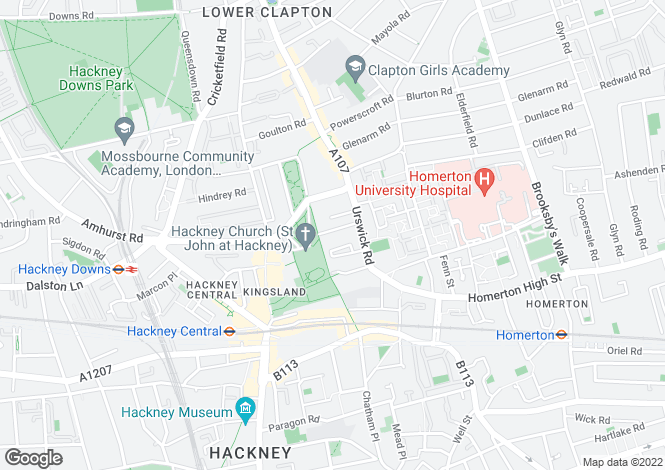 Map for St Johns Church Road, Hackney, London, E9