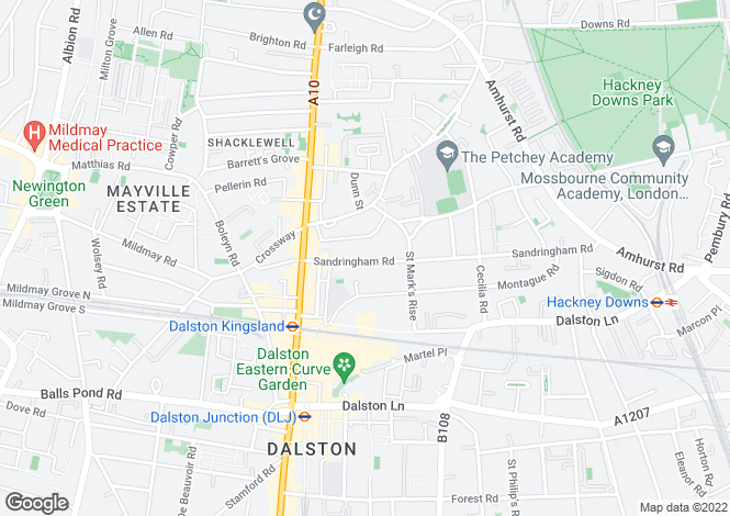 Map for Sandringham Road, Dalston