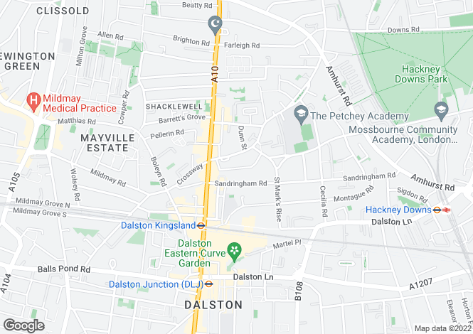 Map for Alvington Crescent, Dalston, E8