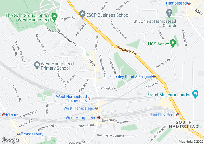 Map for Honeybourne Road, West Hampstead, NW6
