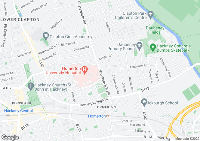 Map for Brooksby Walk, Homerton
