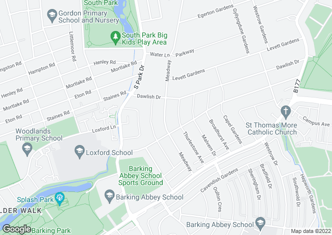 Map for Meadway, Seven Kings, Ilford, Essex, IG3 9BH