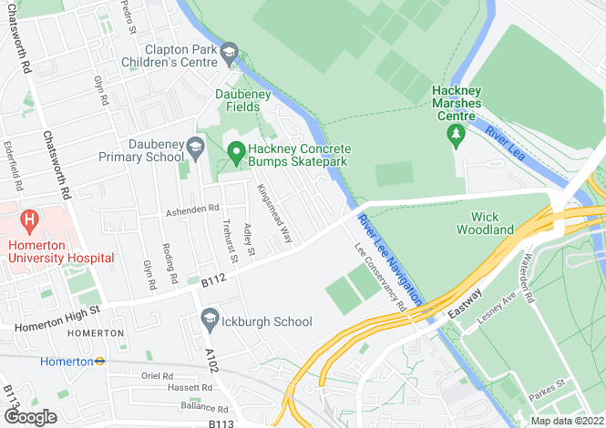 Map for Homerton Road, Hackney