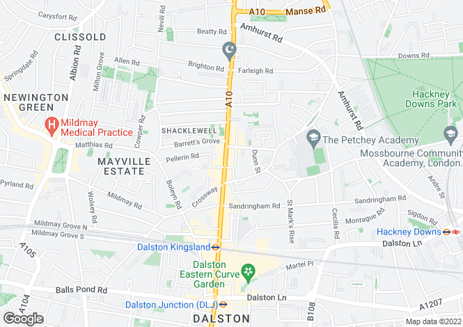 Map for Millers Terrace, Dalston, London