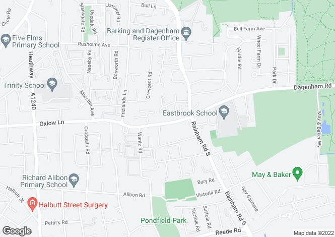 Map for OXLOW LANE, DAGENHAM RM10