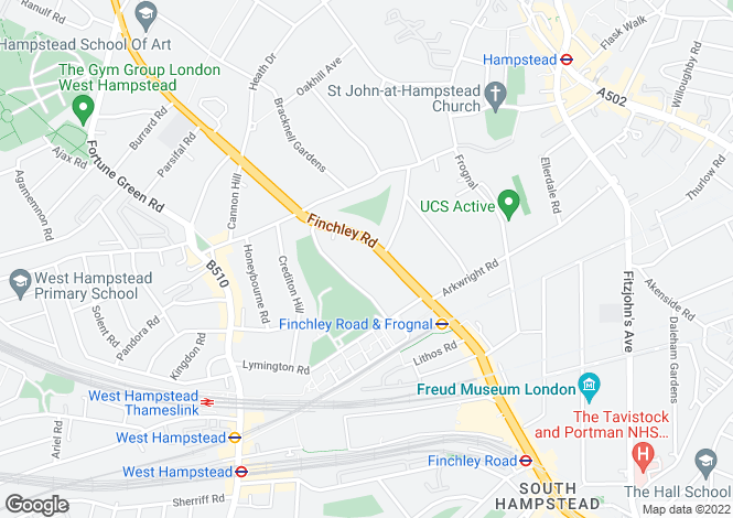 Map for Finchley Road, Hampstead, NW3