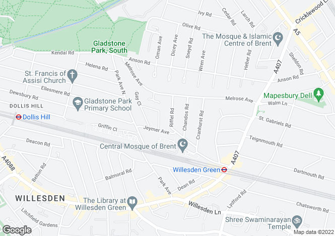 Map for Riffel Road, Willesden Green, NW2