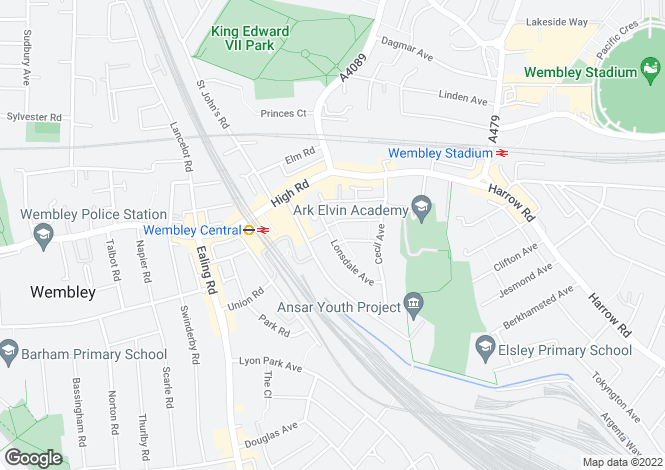 Map for Lonsdale Avenue, Wembley, HA9